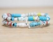 Dr. Seuss Jewelry, Handmade Recycled Paper Bead Bracelet from Green Eggs and Ham, Librarian Gift, Teacher Gift, Rainbow Colored Bracelet