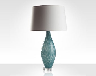 Sea Foam Blue Glass Lamp with White Shade
