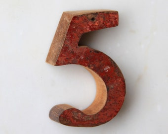 House Number 5 Vintage Style Nautical Distressed Wooden