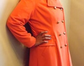 Vintage Double Breasted Spring or Fall Coat/Trench Style Orange Cloth Coat/Size 12