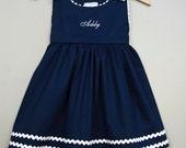 Navy Blue Pique Cotton Dress-Monogrammed Pique Cotton Dress - Holiday Dress - Back To School Dress