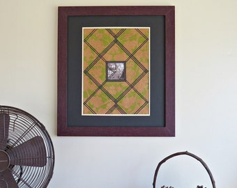 Paper stained glass Craftsman style art piece - leaves and tree in green, gold, copper and black