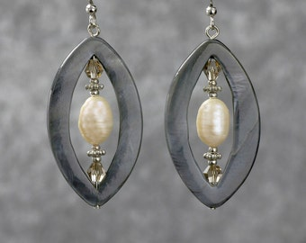 Pearl gray shell dangling earrings Bridesmaids gifts Free US Shipping handmade anni designs