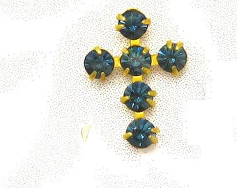 Crystal Cross Charms - 3 Montana Blue Crosses - prong set Austrian Crystal findings Jewelry Supplies Embellishments Charms