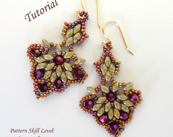 CIGALE superduo beaded earrings beading tutorials and patterns seed bead beadwork jewelry beadweaving tutorial beading pattern instructions