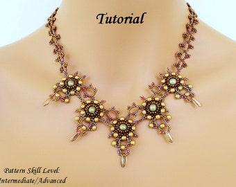 Necklace beading tutorial beadweaving pattern beaded seed bead jewelry beadwork instructions - beadwoven DRAGON's TALONS