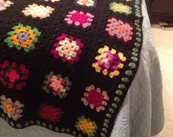 Wonderful Vintage Handmade Crocheted Granny Square Afghan with Black Background