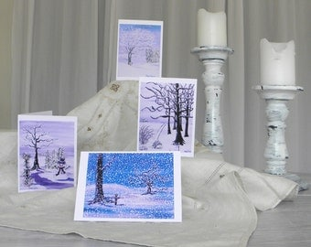 Greeting cards, winter wonderland greeting cards, prints of stacy taylor paintings, set of four greeting cards