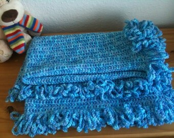 Baby blue blanket with fringes - baby boy blanket