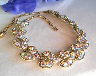 Gold Tone AB Rhinestone Choker Necklace Vintage