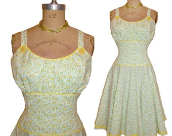 SALE! 1950s Style Gathered Bust Dress Sunshine Yellow and Green Floral Print Full Circle Skirt Size Large Ready to Ship