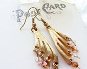 Vintage Gold Fan Charms with Swarovski Crystals in Light Amber and Clear OOAK Earrings