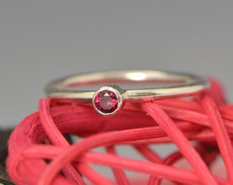 January Birthstone Ring - Red Gemstone Ring - Stacker Ring -January Ring - Garnet Gemstone Jewelry - CZ Jewelry
