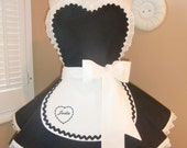 French Maid Woman's Apron Featuring Custom Embroidered Name...Plus Sizing Available