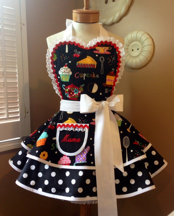Cupcakes and Polka Dots Womans Retro Apron, Featuring Lace Trimmed Heart Shaped Bib & Custom Embroidered Pocket