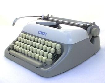 Vintage Typewriter, Mid Century Typewriter, Manual Typewriter, Working Typewriter, 1960s portable typewriter, Grey Typewriter Adler Junior