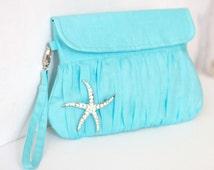 Beach Wedding Starfish Blue Clutch - bridesmaid gift, bridesmaid clutch, wedding clutch
