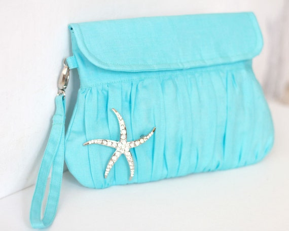 Beach Wedding Starfish Blue Clutch - bridesmaid gift, bridesmaid clutch, wedding clutch