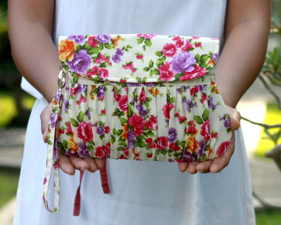 Clutch Bag vintage style colorful small roses