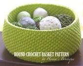 Crochet Basket Pattern - Round Crochet Basket - Medium - PDF