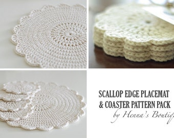 Crochet Pattern Pack - Scallop Edge Placemat and Coasters - PDF