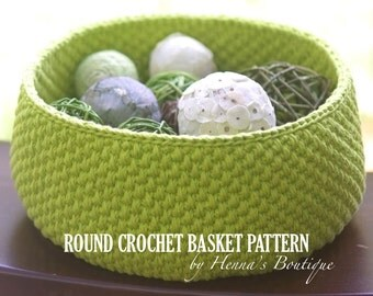 Crochet Basket Pattern - Round Crochet Basket - Medium - PDF