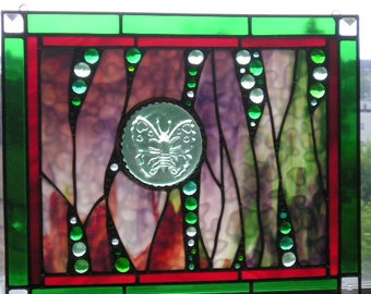 Stained Glass Art Panel|Butterfly Panel|Butterfly|Green|Red|Plum|Abstract|OOAK|Art & Collectibles|Glass Art|Panels|Handcrafted|Made in USA