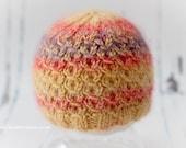 SALE - Newborn Photography Prop, Hand Knit Baby Beanie Hat - Yellow Cashmerino/Mohair/Silk - Ready to ship, UK Seller