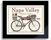 Napa Valley, Wine Art, Wine Connoisseur, Unique Wine Gift Idea, Bicycle Art, Bar Decor, Vineyards, French Wines