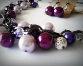 Stunning Pearl Cluster Necklace and Earrings in Purple/Violet/Fushia Color  and Crystal