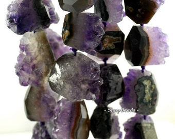 Amethyst Druzy Gemstone, Purple, Gradated Rugged Nugget Focal 36X28MM Loose Beads 16 inch Full Strand (90181577-128)