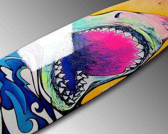 Great White Shark | Shark Art | Longboard Art | Sea Life Art | Skateboard Decor | Surf Art | Jaws | Surfer | Hawaiian Decor | Shark Painting