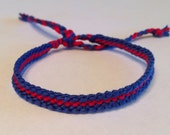 Red (ORANGE) Stripe on Navy Friendship Bracelet