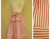 Red and White Candy Stripe Pinup Skirt - Bow Tie Waist Sash - Above the Knee Length - 50s Rockabilly 1950s Diner Greaser Skirt Size Large