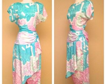 Vintage 80s Does 40s 50s Cocktail Dress Wrap Skirt Knee Length Pastel Teal Short Sleeve Party Dress Size Medium Large