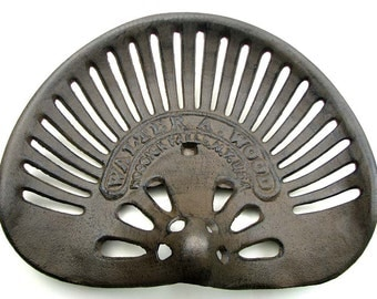 Tractor Seat  Walter Wood Hoosick Falls NY Cast Iron Cafe Kitchen Bar Stool Reproduction DIY
