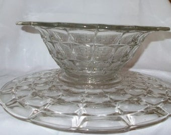 Indiana Glass Constellation Bowl & Under Plate Cake Plate Console Bowl Pair Sandwich Tray Platter Table Centerpiece