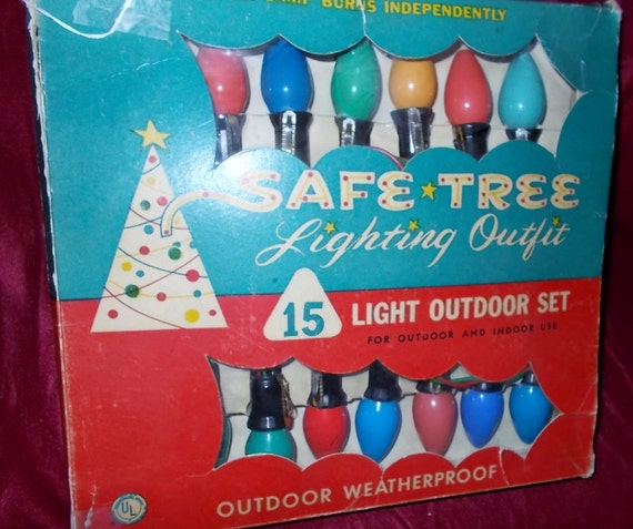 Safe tree c christmas bakelite light string vintage color