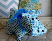 "The Happy ""Cotton"" Hippo, Polka Dot Hippo, Baby Shower Gift, Baby Boy, Hippo Lover, TeamEtsyBABY made by The Corduroy Hippo"
