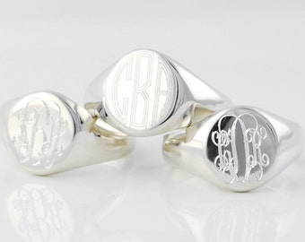 Monogram Signet ring - Personalized custom engraved Solid Sterling Silver signature statement ring in US sizes 4 5 6 7 8 9