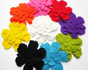 Felt Flower Raimbow. Set of 36 pieces, Die Cut Shapes, Applique, Confetti, Party Supply, DIY Wedding