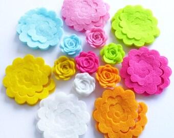 Felt Flower Shapes Unassembled II. Set of 21 pieces