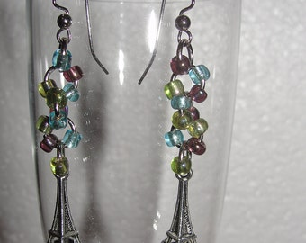 Paris Eiffel Tower Beaded Earrings
