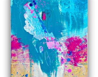 Small Abstract Art Painting - Contemporary Art painting in Pink and blue on 8x10 canvas