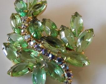 Antique Mint Green Leaf Shape Juliana  Brooch, Pin