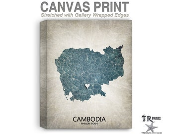 Cambodia Map Stretched Canvas Print - Home Is Where The Heart Is Love Map - Original Personalized Map Print on Canvas