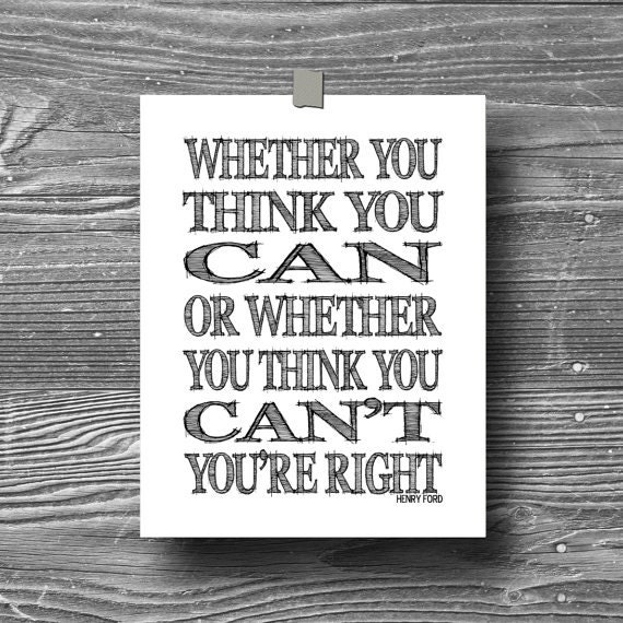 Quote Whether You Think You Can: Whether You Think You Can Typographic Art Print By