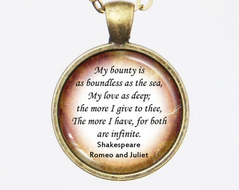 Literary Quotation Pendant Necklace- Shakespeare, Romeo and Juliet- Love quote