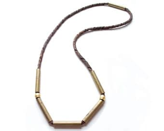 Twisted Sister Necklace - Modern, Minimalist Geometric Brass and Copper Necklace