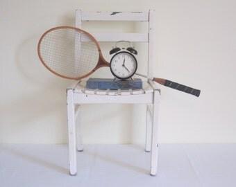 VINTAGE 1950s wooden child chair - chippy white, slat seat design